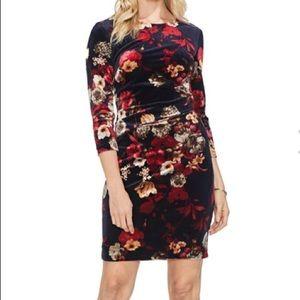 NWT Vince Camuto Floral Print Velvet Dress